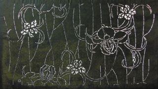 Antique 19c Japanese Ise Katagami Kimono Stencil Art Edo - Meiji Period 型紙 1720 photo