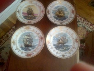 Nippon Handpainted 4 Ship Plates - - All Different,  Heavy Gold photo