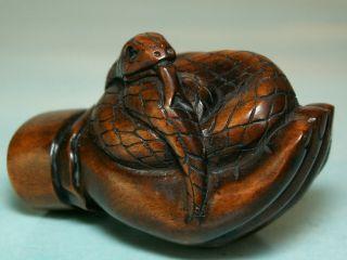 Snake In Hand Of Buddha - Netsuke Ukw467 photo