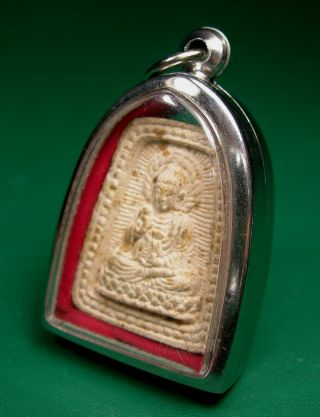 Be253 (1996) Old Thai Phra Putta Yuli Chinese Buddha Amulet Encased Pendant photo