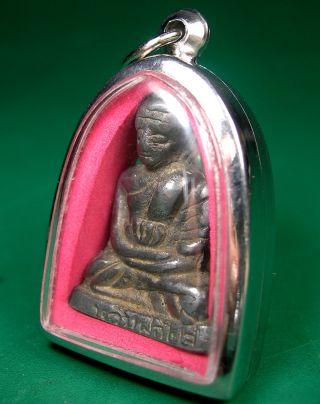 Old Lp Plai Wat Kampang Buddhist Master Figurine Amulet Encase Statue Pendant photo