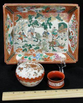 3 Examples Antique Hand Painted Japanese Kutani Porcelain Bowl Box Napkin Ring photo