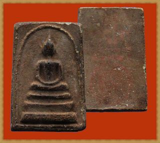Real Thai Amulet Buddha Pendent Old Phra Somdej Back Red Pump Wat Klong Yan Rare photo