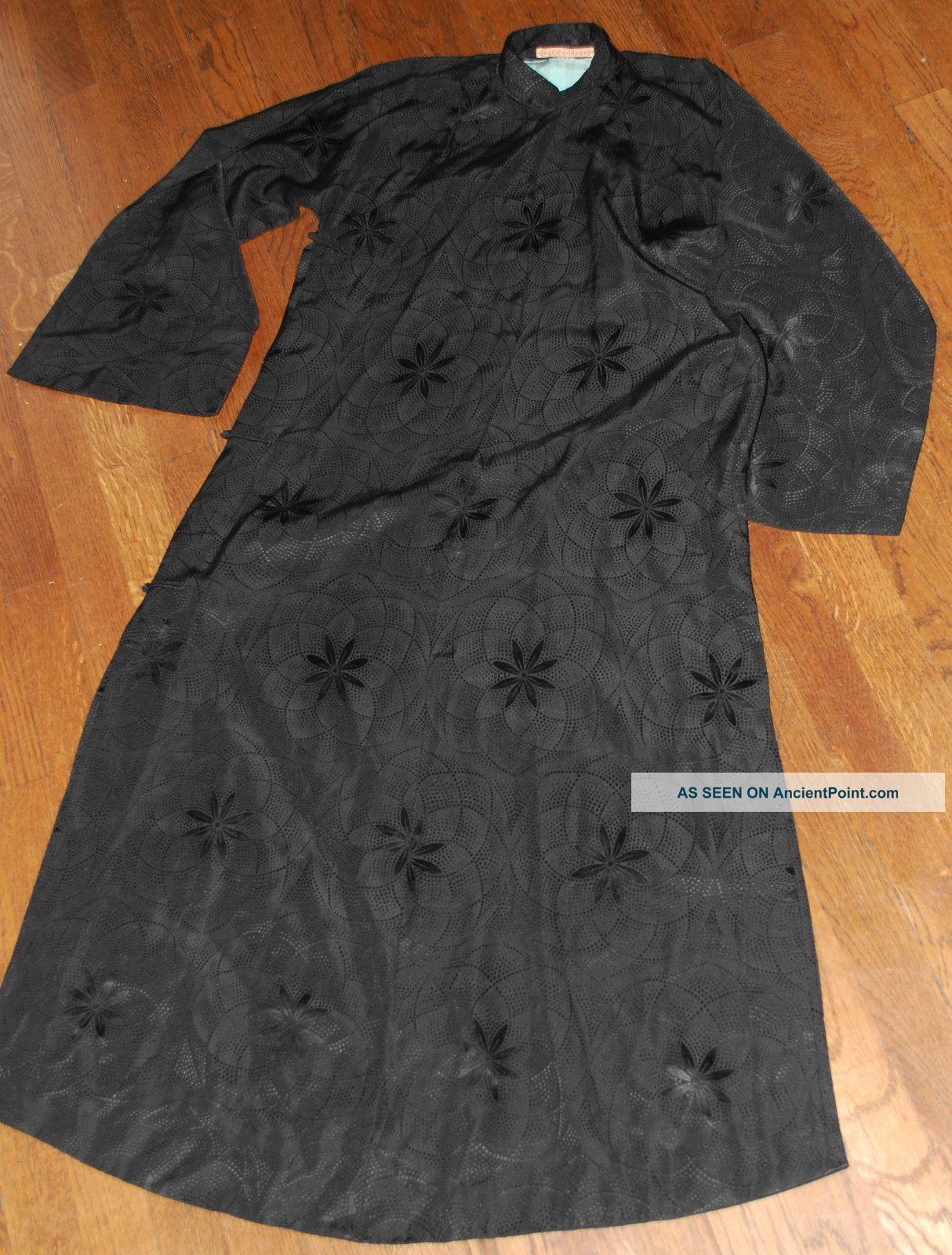 Auth. Vintage Art Deco Qipao / Cheongsam Black Silk Long Sleeve