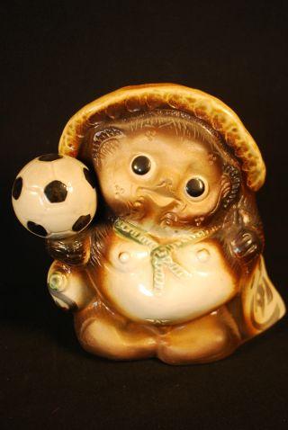 Japanese Shigaraki Pottery Soccer Playing Tanuki Raccoon Dog Badger Bear photo