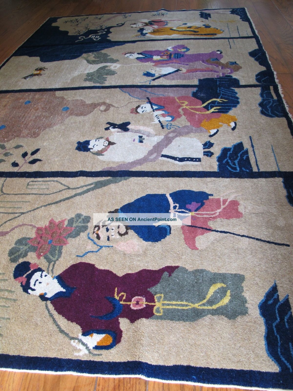 Textilum - A Magnificent Antique Chinese Rug 8 Immortals Tapestry Art Deco No Res Medium (4x6-6x9) photo
