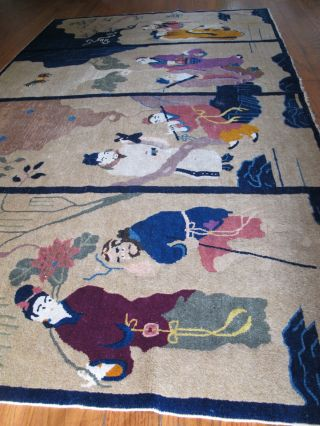 Textilum - A Magnificent Antique Chinese Rug 8 Immortals Tapestry Art Deco No Res photo