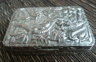 Antique Japanese Cast Metal Trinket / Jewellery Box Tin - Dragon & Bamboo photo