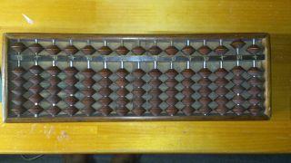 Vintage Japanese Wood Abacus Soroban (15 Rods,  Beads,  1/5) photo