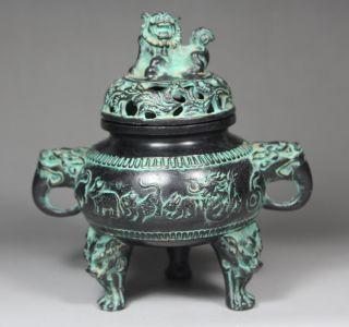 Chinese Old Bronze Handwork Hammered Dragon/ Kirin Lid Incense Burner photo