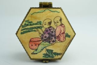 China Collectibles Old Decorated Wonderful Handwork Painting Monk Ring Box +++ photo