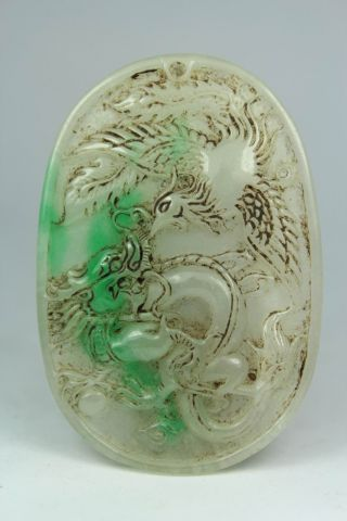 Chinese Handwork Carving Dragon Phoenix Old Jade Pendant photo