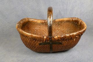 A Magnificent Large Antique Handmade Chinese Basket Wood & Iron 22 X 14