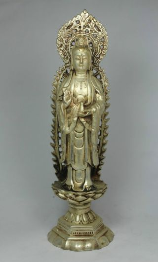 Chinese Old White Copper Handwork Kwan - Yin Statue photo