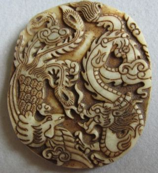 Unique,  Old Chinese Hetian Jade Hand Carved,  Pendant (long Feng ) photo