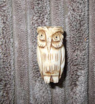 Japanese Carved Bone Owl Ojime / Bead 2.  6 Cms {1 Inch} photo