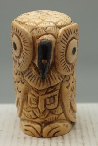 Hand Carved & Etched Carving Of An Owl - 70mm High photo