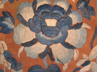 Antique Chinese Silk Embroidered Panel Flowers Embroidery Satin Stitch photo