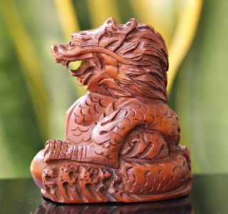 N284: 2  Japanese Handmade Boxwood Netsuke Dragon photo