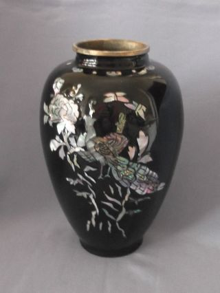 Abalone Inlaid Black Enamel Vase Depicting A Pheasant And A Flower photo