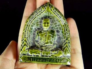 2505 Be: Huge Rare Green Celadon Lp.  Khom Wat Phai Rong Wua Thai Buddha Amulet photo