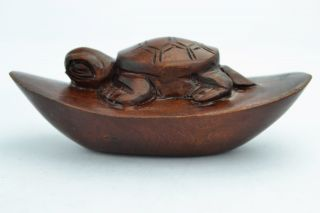 Asian Old Collectibles Decorated Handwork Boxwood Carving Tortoise Netsuke photo