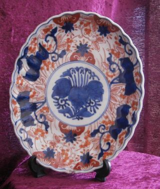 Good Antique Japanese Porcelain Old Imari Oval Plate - photo