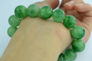 China Collectible Old Handwork Jade Burnish Elastic Wonderful Bracelet photo
