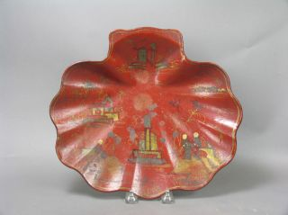 Large Red Lacquer Japanese Decorated Paper Mache Shell Form Bowl photo