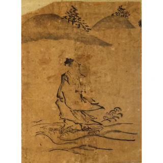 Antique Japanese Woodblock Print Illustration Chinese Sage Hand - Work 18th C.  Edo photo