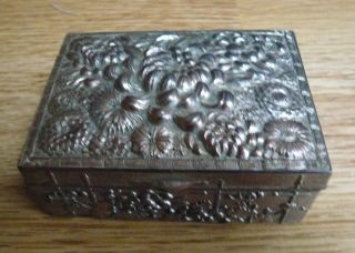 Antique Japanese Cast Metal Trinket / Jewellery Box Tin - Floral / Flowers photo