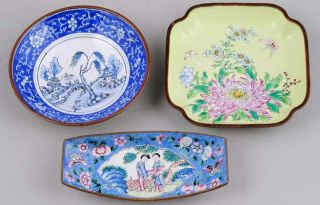 3 Different Old Chinese Enamel Hand Painted On Metal Bowls photo