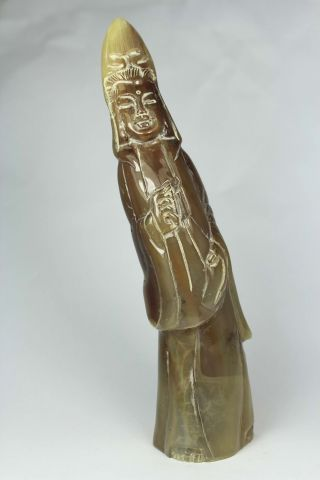 Excellent Chinese Old Ox Horn Handwork Carving Kwan - Yin Statue Decoration photo