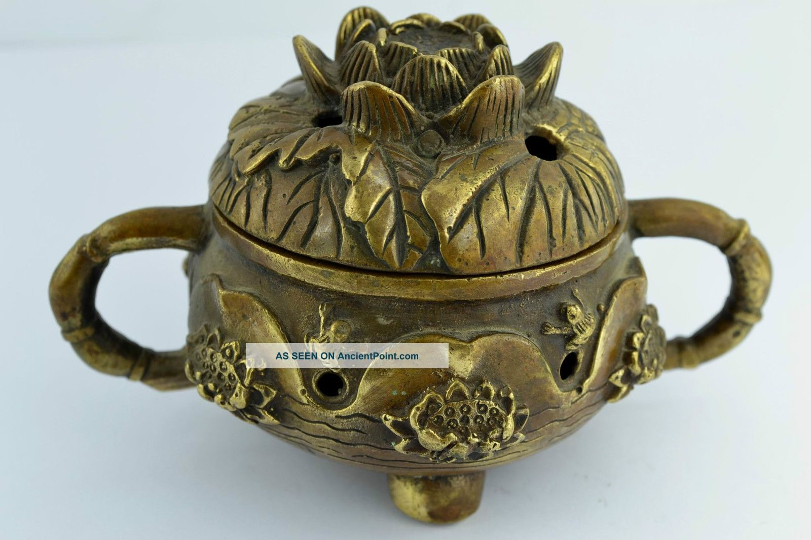 China Collectibles Old Handwork Brass Water Lily Iwonderful Incense Burner Buddha photo
