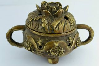 China Collectibles Old Handwork Brass Water Lily Iwonderful Incense Burner photo