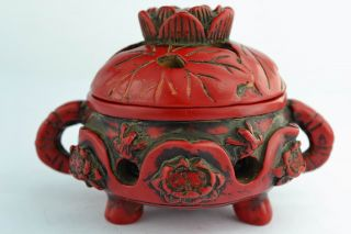 Asian Old Collectibles Decorated Handwork Coral Water Lily Incense Burner Aaaaa photo