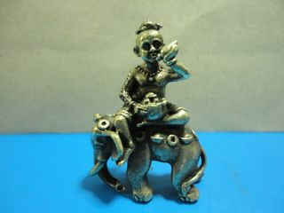 Kumanthong Ride Elephant Kwak Sup Rich Luck Good Business Charm Thai Amulet photo