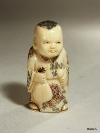 Japanese Carved Netsuke Boy With Bag - Signed photo