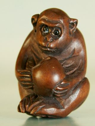 Monkey & Peach - Detailed Netsuke / Ojimi Ukw494 photo
