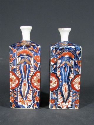 Rare Pair Of Antique Japanese Imari Square Form Bottles Tokkuri 19thc Vases photo