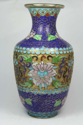 Chinese Old Closionne Wonderful Handwork Flower Vase Decoration photo