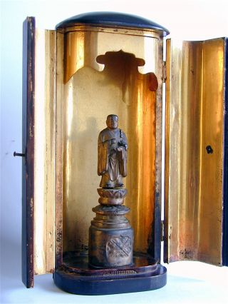 A Antique Japanese Edo Period Gilt Lacquer Shrine Of A Standing Buddha photo