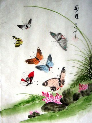 Japanese Hand Painted Painting Butterfly & Flower @250 photo