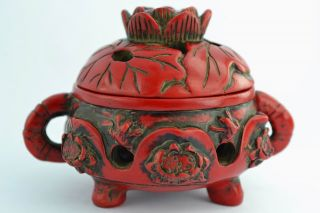 Orient Old Collectibles Decorated Handwork Coral Water Lily Incense Burner Top photo