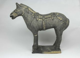 Chinese Old Earthenware Wonderful Handwork Painting Army Horse Statue photo