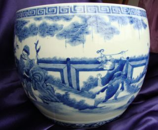 Antique Chinese Porcelain Blue White Jar Urn Marked Signed Qing Dynasty photo