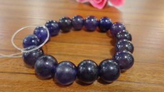 Chinese Purple Jade Bracelet 18beads/each Bead 12mm/wear Two - Lane Stretch Line photo