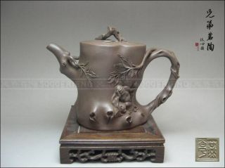 5000friend - Impressive Yixing Zisha Pottery Old Stump Teapot W Arhat photo