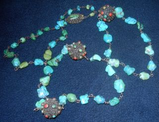 Fine 19th/20th Century Chinese Tourquoise Coral & Silver Necklace - 36ins Long. photo