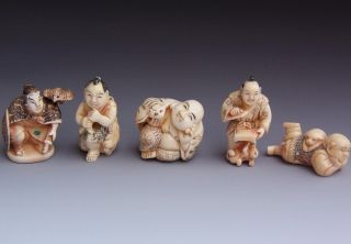 Estate Coll.  5 Japanese Carved Ox Bone Samurai Bird Boy Dog Bat Netsuke Figures photo